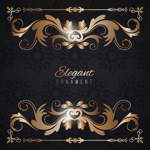 ヴィンテージ招待状ゴールデンフレームと黒の豪華な背景。デザインのためのテンプレート Premiumベクター