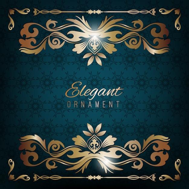 ヴィンテージ招待状ゴールデンフレームとブルーの豪華な背景。デザインのためのテンプレート Premiumベクター
