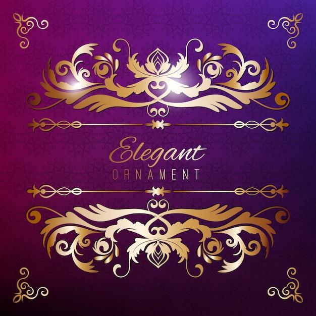 ヴィンテージ招待状ゴールデンフレームと紫色の豪華な背景。デザインのためのテンプレート Premiumベクター