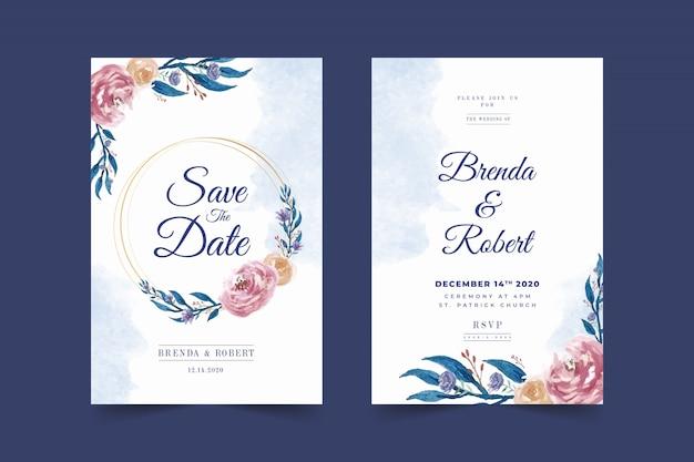 美しい青い花のフレームの結婚式の招待カードテンプレート Premiumベクター