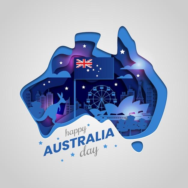День австралии вырезать из бумаги Premium векторы