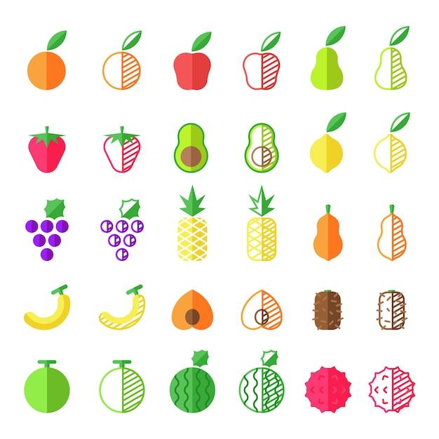 Коллекция иконок плоских фруктов Premium векторы