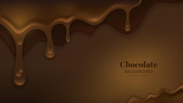 溶かされたチョコレートの背景 Premiumベクター