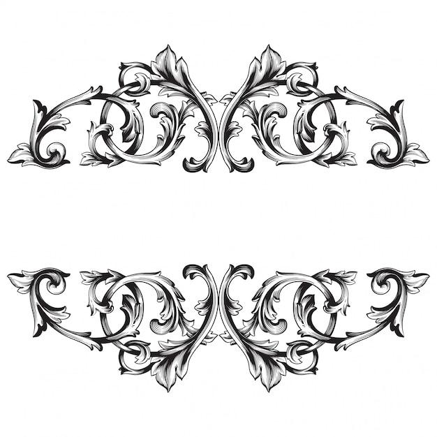 Старинные рисованной викторианской или дамасской цветочный элемент. черно-белые гравированные чернила арт. Premium векторы