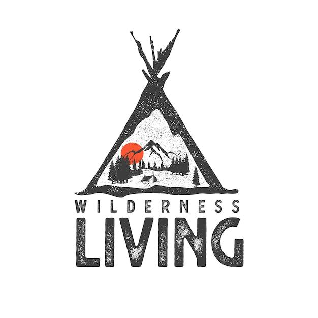 Ручной обращается логотип с горным пейзажем и надписью Premium векторы