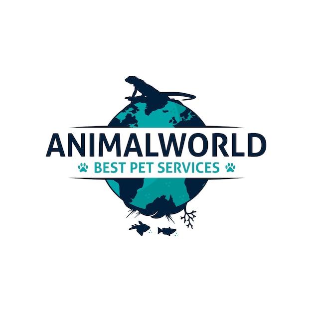 動物の世界のロゴデザイン Premiumベクター