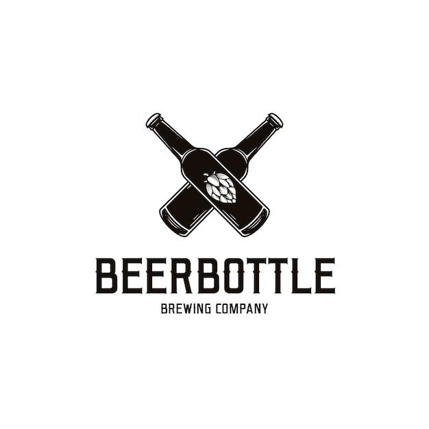 Шаблон логотипа пивной бутылки Premium векторы