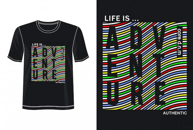 Приключенческая типография дизайн футболки Premium векторы