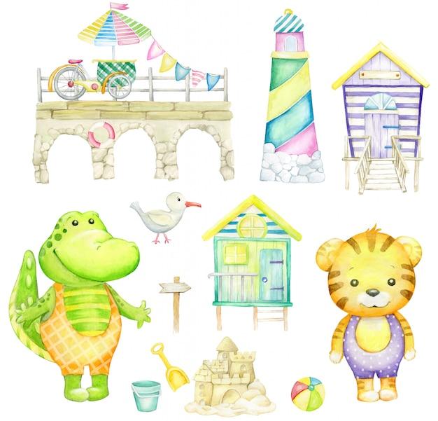 Аллигатор, тигр, чайка, замок из песка, маяк, пляжный домик, мяч. акварель на белом фоне. Premium векторы