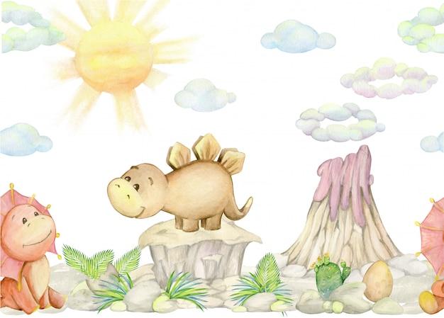 Симпатичные динозавры, вулкан, растения. акварельные иллюстрации Premium векторы