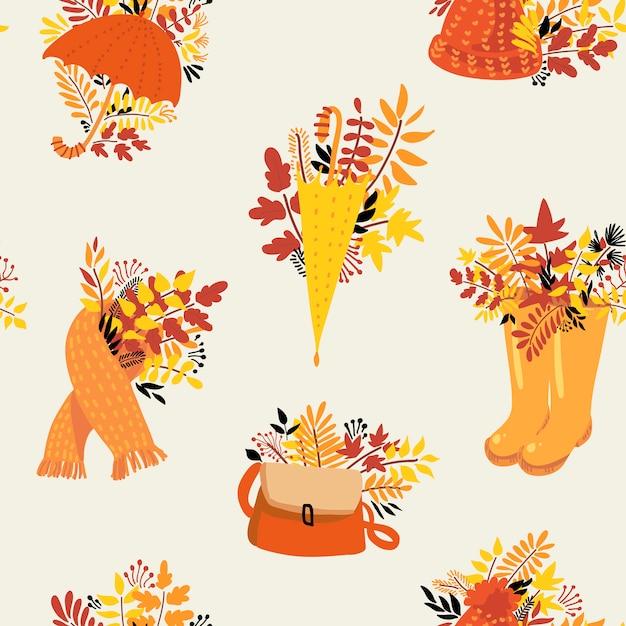 秋の自然なシームレスパターン。 Premiumベクター