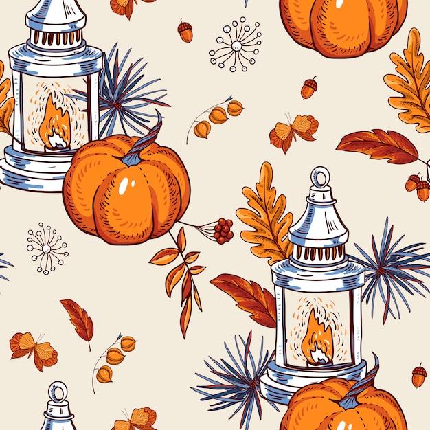居心地の良い秋のシームレスなパターン、オレンジの葉、花、松ぼっくり、果実、カボチャ、ランタン、蝶 Premiumベクター