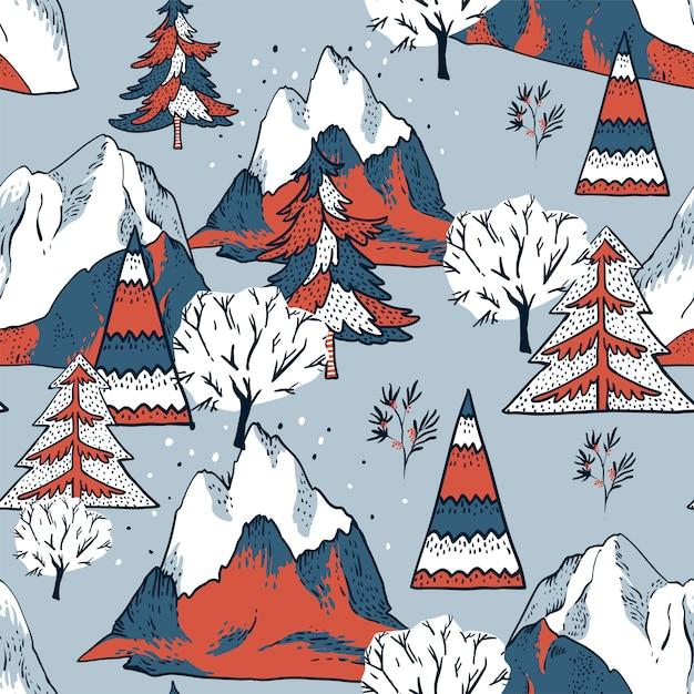 クリスマスのシームレスなパターン、冬のヴィンテージ山の風景 Premiumベクター