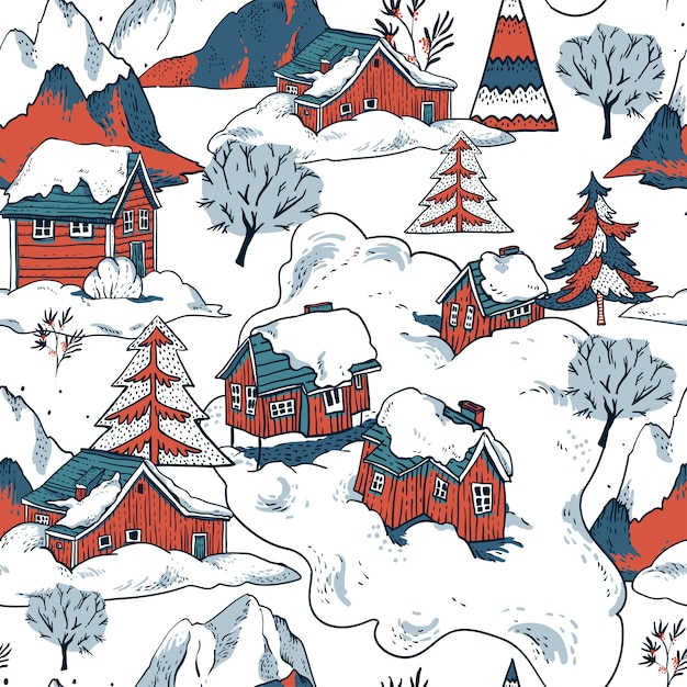 Зимние красные дома покрыты снегом в скандинавском стиле бесшовные модели Premium векторы