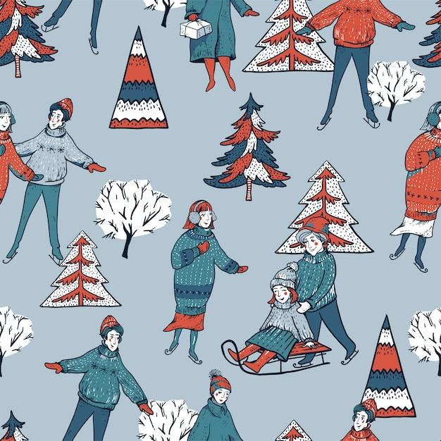 冬ビンテージクリスマスツリー、そり、スケートリンクのシームレスなパターンでスケート Premiumベクター