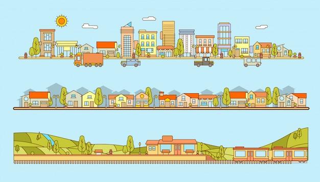 線のスタイルの街並み、集合住宅、村の風景と丘の平らなイラストの駅のセット Premiumベクター
