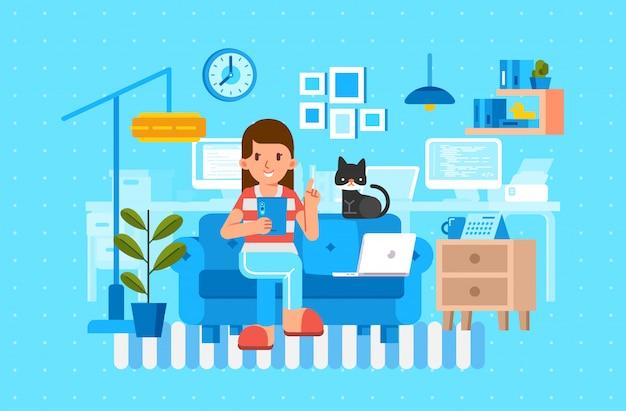 Женщины сидят на диване с планшетом и кошкой рядом с интерьером гостиной Premium векторы