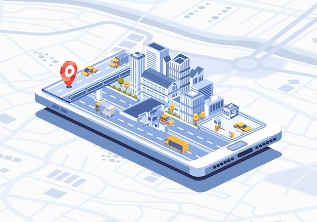 スマートフォンのイラストをスマートシティ等尺性モバイルアプリ Premiumベクター