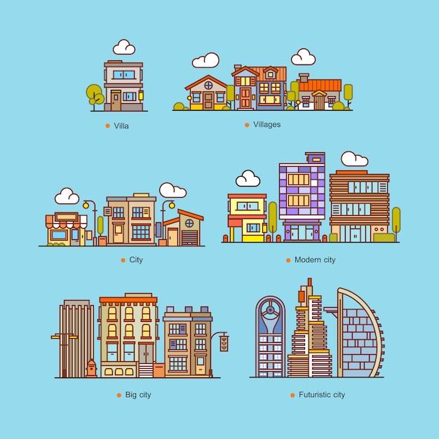 Установить дома и здания городской пейзаж плоский стиль векторные иллюстрации Premium векторы