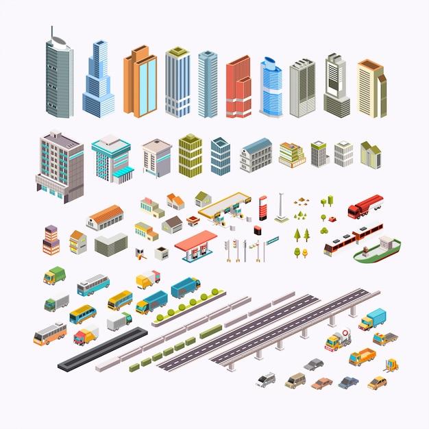 Установите изометрической городской застройки, транспорт, дома и общественные места векторные иллюстрации Premium векторы