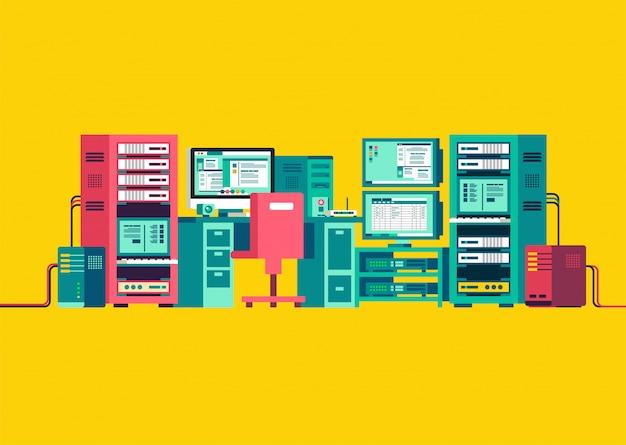 Набор компьютерного сервера изометрической векторной иллюстрации Premium векторы