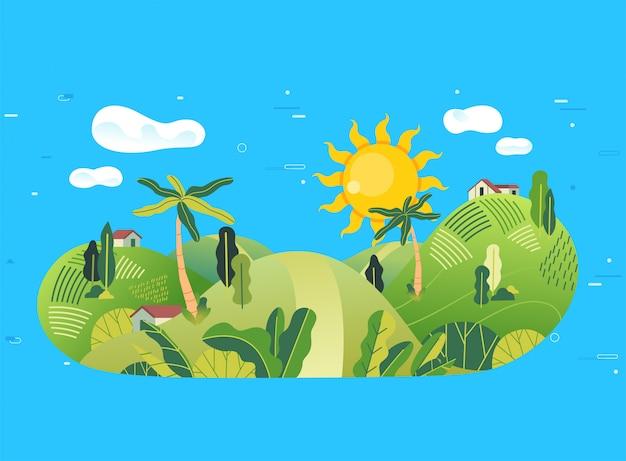 Сельская местность в иллюстрации горы с много деревом, небольшим домом и красивым ландшафтом Premium векторы