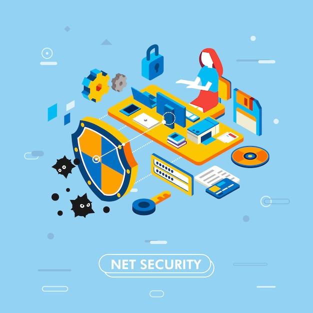 ノートパソコンとコンピューターの机で働く管理者としての女性キャラクターとインターネットセキュリティのモダンな等尺性デザイン、ディスク、南京錠、シールド、キー、彼女の周りのパスワードベクトル図があります。 Premiumベクター