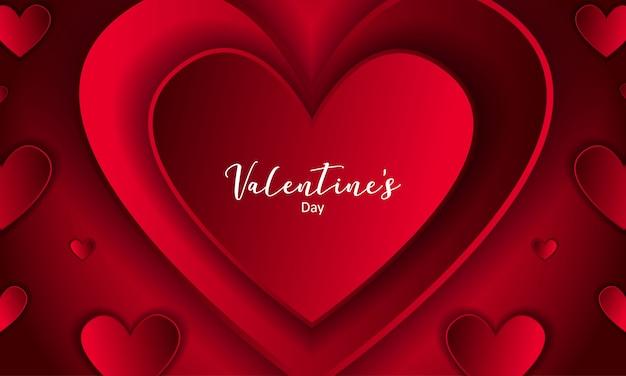 Роскошный красный день святого валентина с фоном сердца Premium векторы