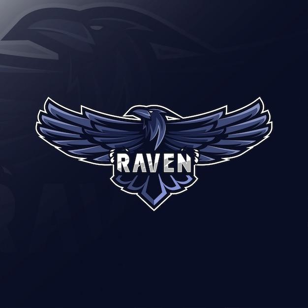 Ворон талисман логотип дизайн киберспорт Premium векторы