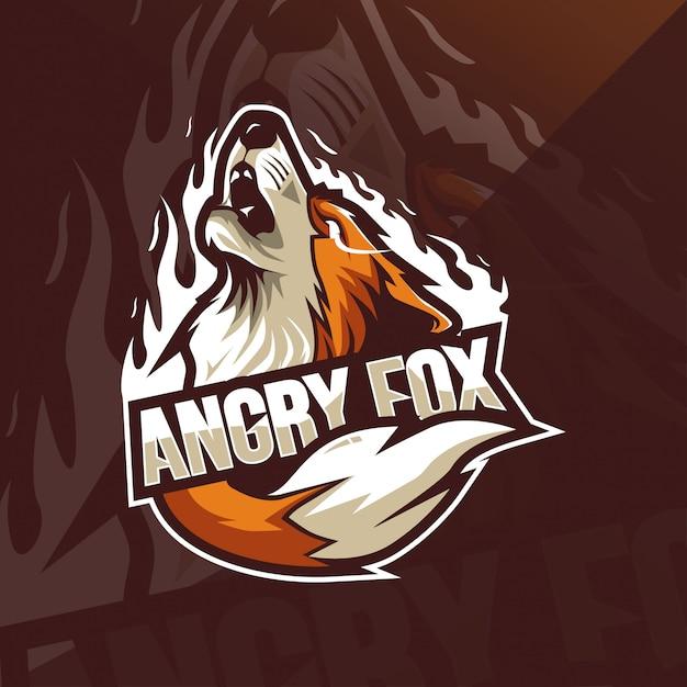 怒っているフォックスマスコットのロゴのテンプレート Premiumベクター