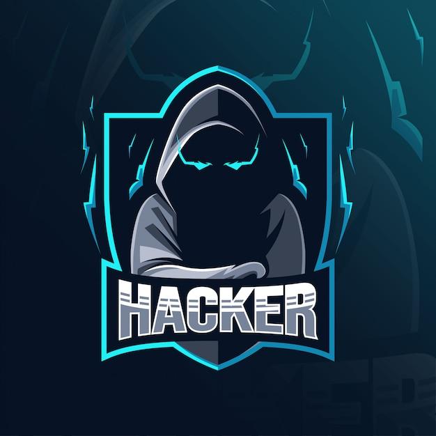 ハッカーのマスコットのロゴデザイン Premiumベクター