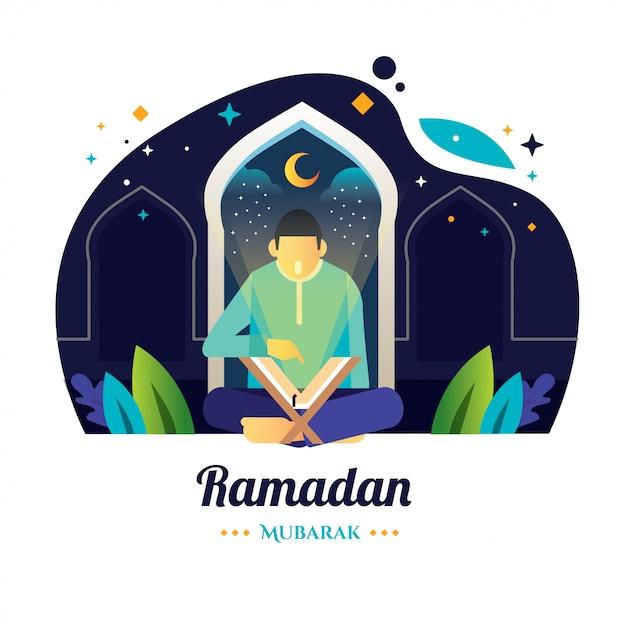 ラマダンの夜の男は聖クルアーンを読みます Premiumベクター