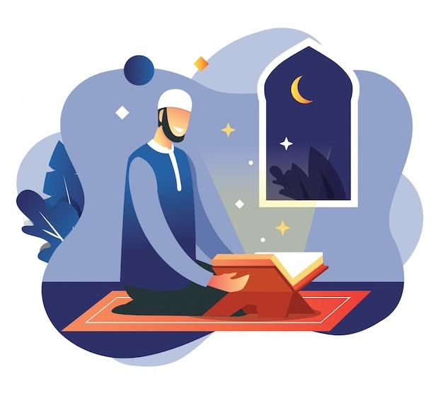 ラマダンムバラクイードフィトルの夜の男の祈り Premiumベクター