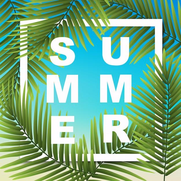 熱帯植物の夏の壁紙。イラストは、カード、ポスター、バナー、オーダーのものに使用できます。 Premiumベクター