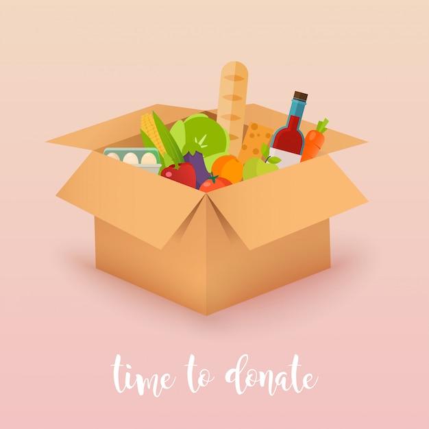 Время пожертвовать. пищевое пожертвование. коробки с едой. концепция иллюстрации. Premium векторы