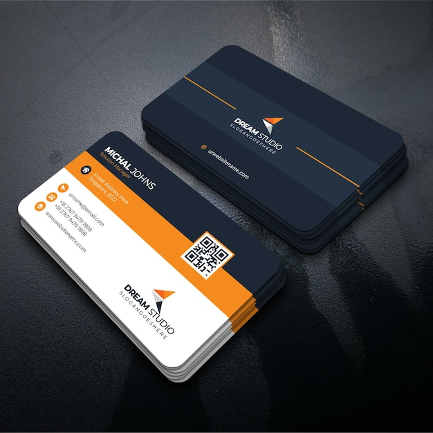 オレンジ色の訪問カード 無料ベクター