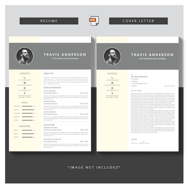 Современный простой шаблон для учебной программы и сопроводительного письма Premium векторы