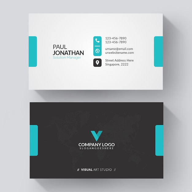 Сине-белая визитная карточка Бесплатные векторы