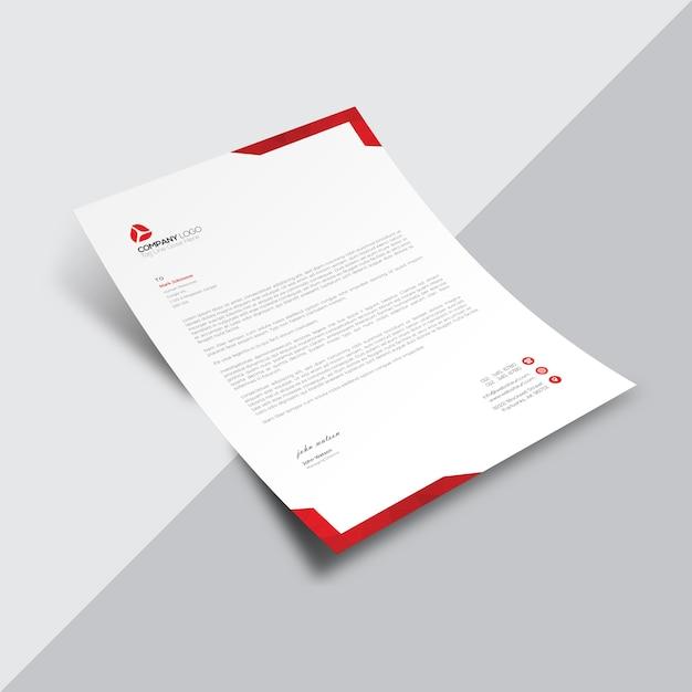 赤いコーナーを持つ白いビジネス文書 無料ベクター