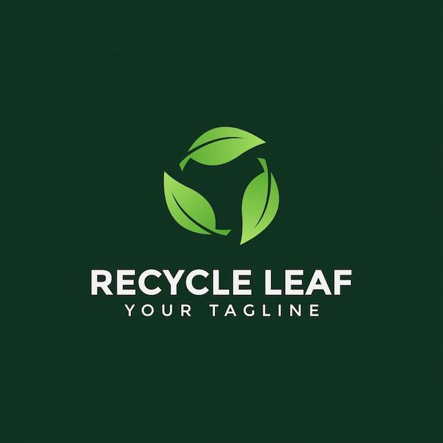 サークルリサイクルリーフロゴデザインテンプレートイラスト Premiumベクター