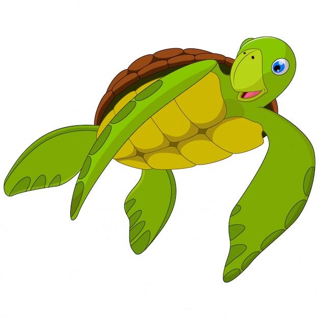 Милый мультфильм морская черепаха на белом Premium векторы