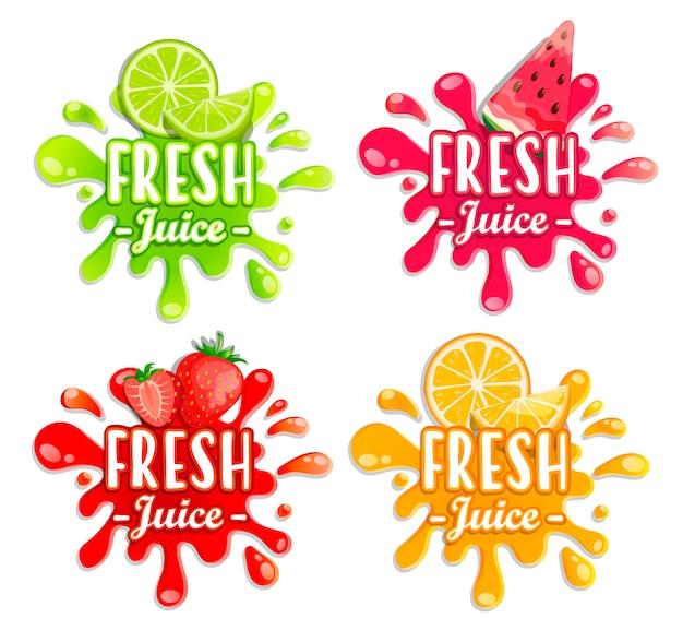 Различные брызги фруктов Premium векторы