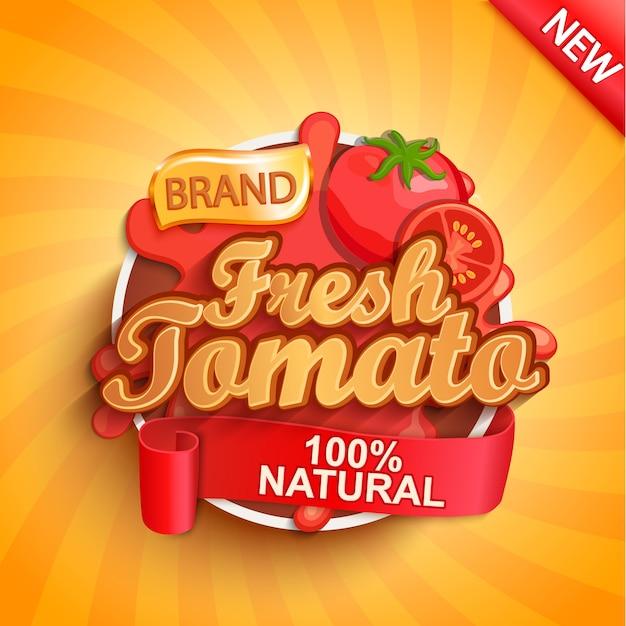 Свежий помидор логотип, этикетка или наклейка. Premium векторы