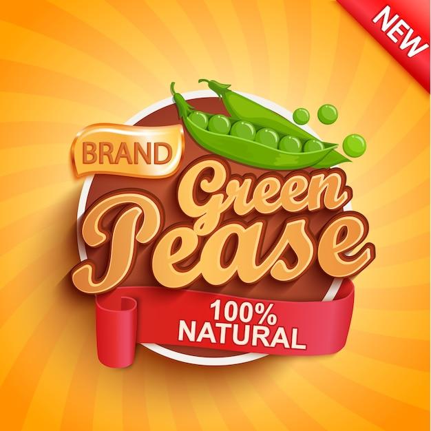 新鮮なグリーンピースのロゴ、ラベルまたはステッカー。 Premiumベクター