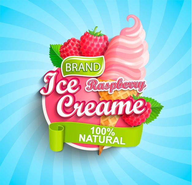 ラズベリーアイスクリームのロゴ、ラベル、またはエンブレム。 Premiumベクター