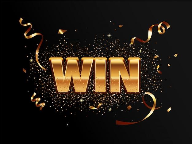 Золотая победа баннер для победителей. Premium векторы