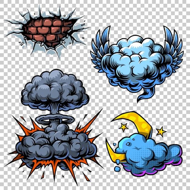 色の漫画アイコンのベクトルセット。 無料ベクター