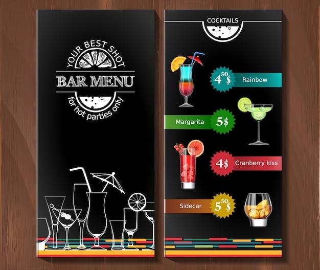Меню дизайна для коктейль-бара в фирменном стиле. Бесплатные векторы