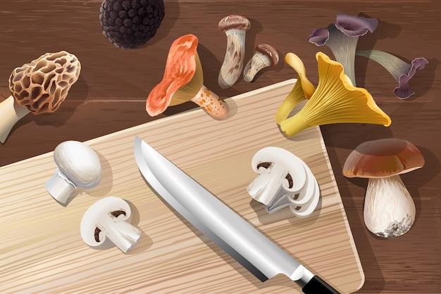 Векторный фон с различными видами съедобных грибов Бесплатные векторы