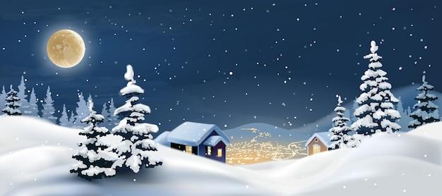 Векторная иллюстрация зимнего пейзажа. Бесплатные векторы